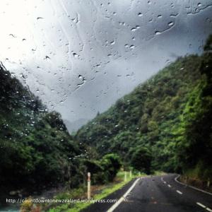 Rain while driving through the Waioeka Gorge. Great.